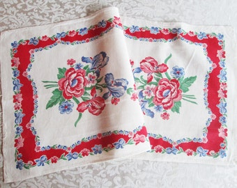 Vintage Towel Red Kitchen Linens Printed Floral Dish Cloth Dishcloth 1940's 1950's Mid Century Retro Textiles Table Runner Hand Dish Towel