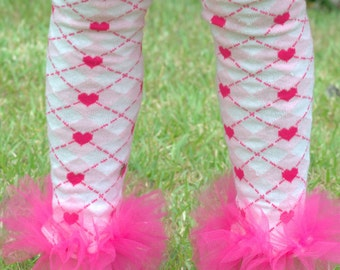 Ruffle Tutu Tights with Pink Hearts Girls Sz 7-10 - Perfect for Birthday Party, Photo Props and Holiday gifts