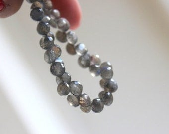 Clearance SALE Labradorite Gemstone Briolette Grey Faceted Onion 6mm 30 beads 1/2 Strand