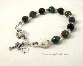 Irish Rosary Bracelet Chaplet Celtic Claddagh Green Agate White Prayer Beads Miraculous Medal St Therese Sacred Heart Good Shepherd