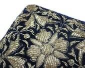 Embroidered Wallet - Silver Thread Zardozi, Zari Embroidery, India, Navy Blue Velvet