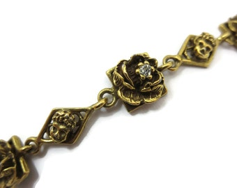 Goldette Bracelet - Rhinestone Roses, Victorian Revival Costume Jewelry