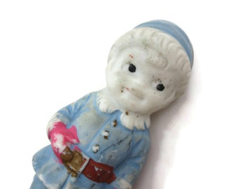 Porcelain Figurine - Bisque Frozen Charlotte, Comic Strip Character, Boy in Blue, Miniature, Hand Painted, Japan