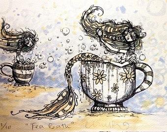 Tea Bath limited edition hand tea stained print