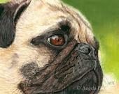 Pug Painting Print, Contentment, Dog, Art Print, Reproduction, Fine Art, Pet, Realism, Pastel, 8 x 10, Painting Print, Animal, Nature