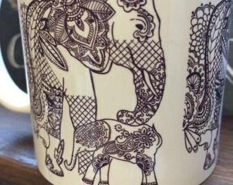 Zentangle/ tattoo influenced elephant mug. Hand drawn.