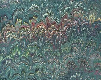 Green Marbeled Feathers Italian Print Paper ~ Carta Fiorentina Italy  F014