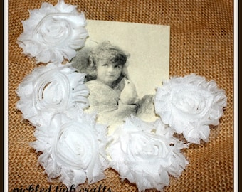 """PRICE REDUCED!! 2 1/2"""" Shabby Chic Ribbon Rose, 5 pieces"""