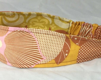 Fabric Headband Adult Womens Reversible Fabric Headband in Amy Butler Midwest Modern Print Ready to Ship