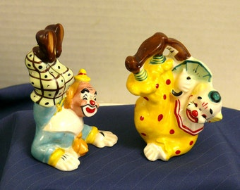 Clown Salt and Pepper Shakers - Signed: YONA California Pottry 1956
