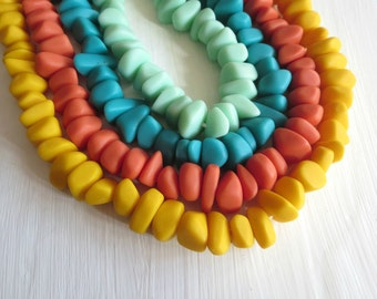 Opaque orange blue green yellow  Resin beads mix ,  nugget  freeform bead  matte Indonesian  -  16 beads  / 3 to 10 x 11 to 20  mm - 5A17-6