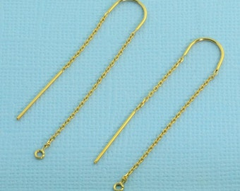 14K Solid Yellow Gold Ear Thread Earwire with loops 1.75 Inch Length