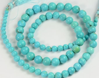 GIA Certified 3.5MM to 7mm Sleeping Beauty Turquoise Smooth Round Beads 17.5 inch strand