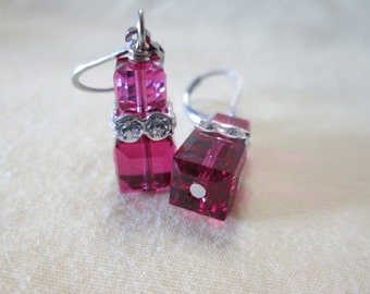 Fuschia Cube Earrings