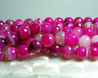 "14mm Hot Pink Fuchsia Striped Agate Faceted Round Semi Precious Gemstone beads 15"" 28pc strand Jewelry Jewellery Beads Craft Supplies"