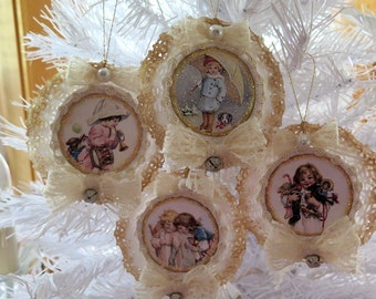Set of 4 Shabby Vintage Chic Children Paper Doily Ornament Lace Bows and Pearls Gift Tags Scrapbooking