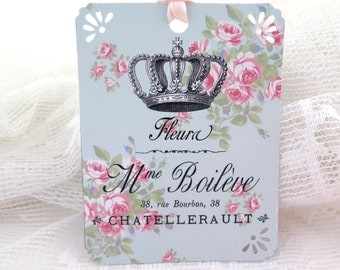 Shabby French Inspired Crown & Roses Tag Vintage French Script Shabby Chic tag Shabby gift tag