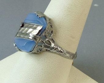 Vintage Art Deco Ring Silver Filigree Blue Glass