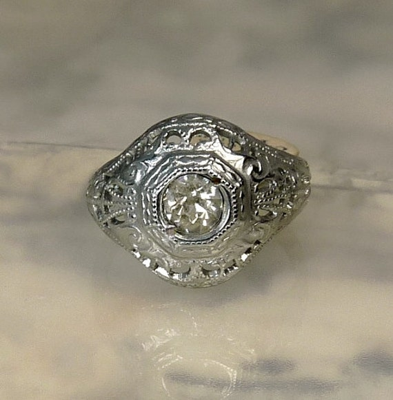 Vintage Art Deco Ring Silver Filigree Engagement Ring Old
