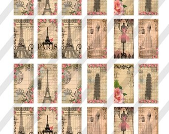 Digital Collage Sheet, 1X2 inch, Domino Sized, Paris Images, (Sheet no. O255) Instant Download