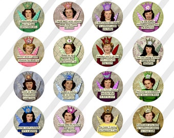 """Mature-Digital Collage Sheet, Circle images, Round, Funny Snarky Ladies, 4 Sizes 1.5"""", 2"""", 2.5"""", and 3"""" (Sheet no. FS274) Instant Download"""