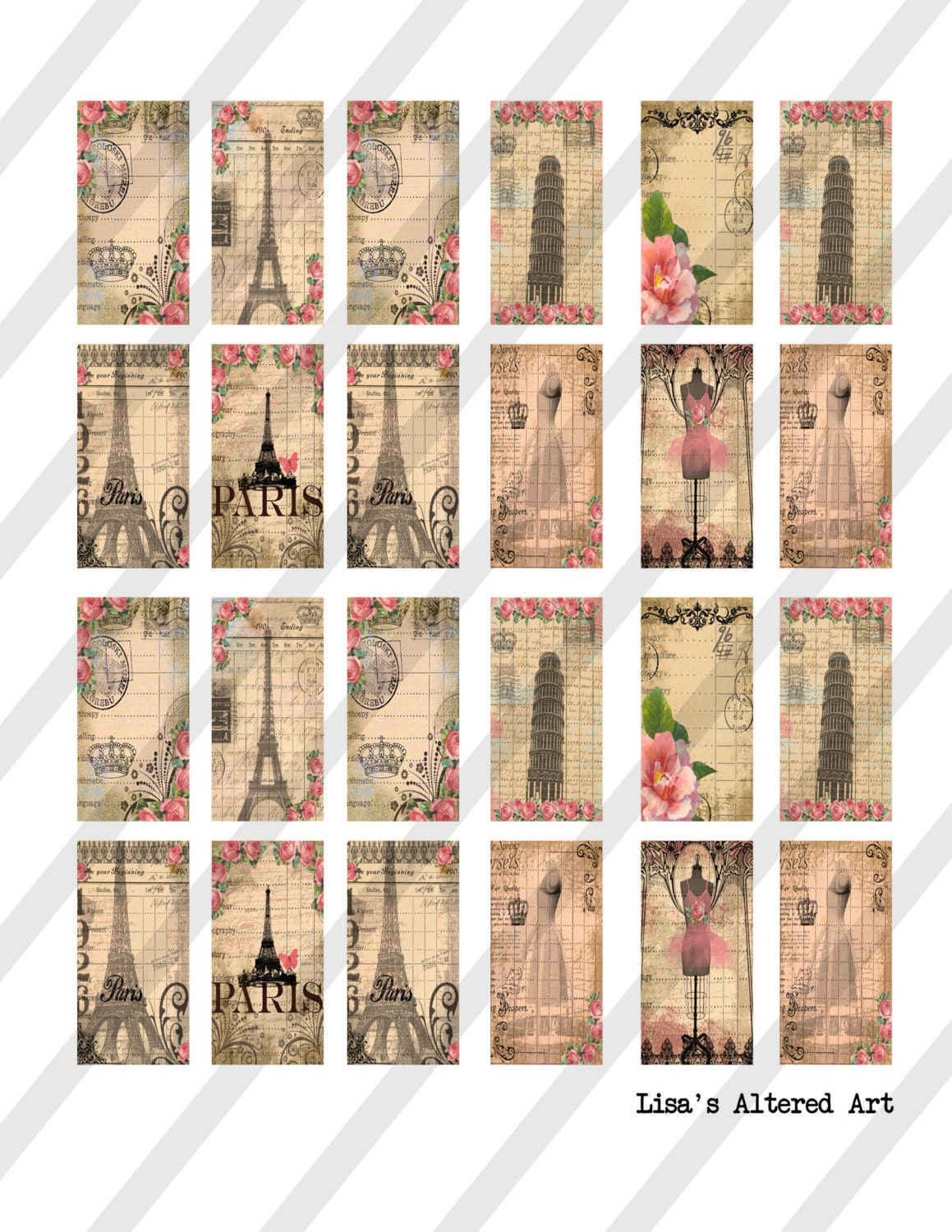 digital collage sheet 1x2 inch domino sized paris images sheet no o255 instant download. Black Bedroom Furniture Sets. Home Design Ideas