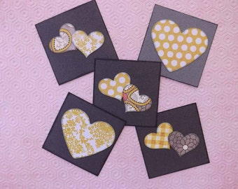 Kids' Valentine Cards // Hearts // Hand Stamped // Set of 10
