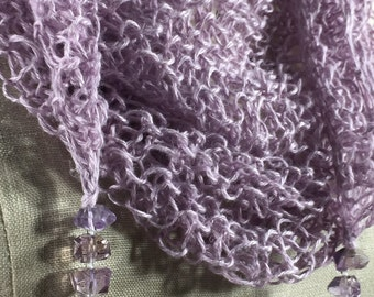 Mindful Wrap, Wearable Fiber Art. . . a Mindfulness Mantle in Lilac Linen with Ametrine Beads