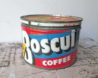 Vintage 1960 Boscul Coffee Key Wind Lithographed 1 Lb Coffee Tin with Lid, Red, White, Blue, Coffee Advertising Tin