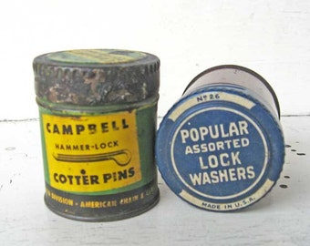 Pair of 1940  Vintage Hardware Fittings Advertising Tins, Campbell Cotter Pins, Popular Lock Washers, Old Made in USA Hardware Parts Tins