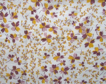 Vintage 1930's Feedsack Cotton Feedsack Fabric, Little Yellow and Purple Violet Flowers