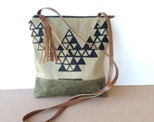 weekdayer - large • crossbody bag - geometric print • black geometric triangle print - screenprint - waxed canvas - iPad bag • vukani