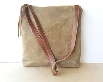 crossbody bucket bag • waxed canvas crossbody bag • light brown waxed canvas - zipper top - cross body tote - travel bag • scout