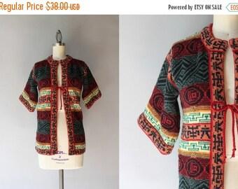 STOREWIDE SALE 1970s Sweater / Vintage 70s Patterned Cardigan / Short Sleeve Bohemian Cardigan Sweater