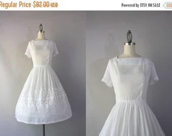 STOREWIDE SALE 1950s Dress / Vintage 50s Sheer White Eyelet Dress / 1950s Full Skirt Foliate Embroidered Dress