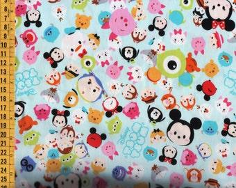 Half Yard Japanese Cotton Fabric Disney Tsum Tsum Blue 2 styles to choose