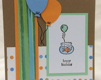 Handmade Birthday card - Goldfish with Balloons