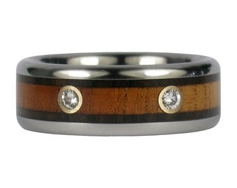 Two Diamond Two Wood Ring with Hawaiian Koa Wood and Blackwood