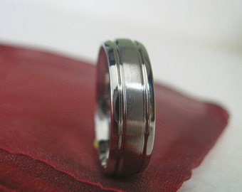 Titanium Ring or Wedding Band, Domed, Grooves, Brushed Polished