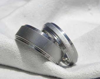 Ring SET or Wedding Bands, Double Stepped, Titanium Rings,  Frosted Finish