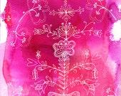 Russian Pattern In Pink Archival Art Print