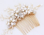 Gold or Silver Freshwater pearl and rhinestone Bridal Hair Comb