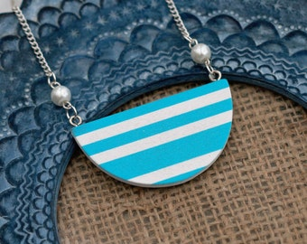 Nautical Necklace, Wooden Semi Circle Bib necklace, Blue Striped Necklace, statement jewelry