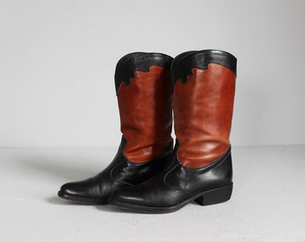 vintage Italian made two tone brown - black leather Joan & David boots 7 - 7 1/2