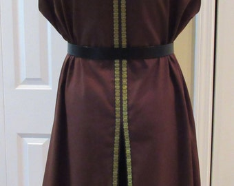 "Hooded Surcoat, Ready Made, Brown Cotton Twill with Norse Trim, 47"" Chest, Medium"