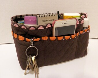 "Purse Organizer Insert/4"" Depth Enclosed Bottom/Quilted/ Brown"