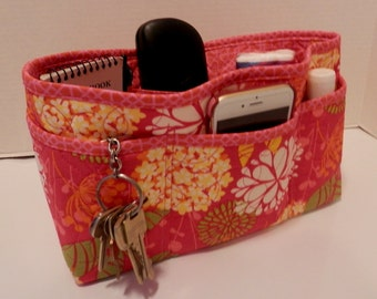 Quilted Purse Organizer Insert With Enclosed Bottom Large - Hot Pink Floral