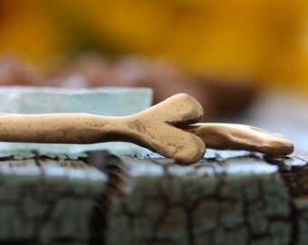 Golden Bronze hair stick - hand sculpted heart bronze hair stick hair pin
