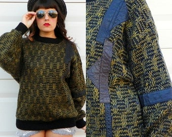 1980s Vintage Black Mustard Sweater with Leather Patches Asymmetrical Sweater Boyfriend Sweater Grunge Sweater Size Large