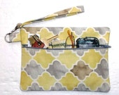 Yellow Front Zippered Wristlet, Grey Taupe Clutch, Diamond Print Makeup or Phone Holder, Womens Wallet, Small Purse, Gadget or Camera Bag